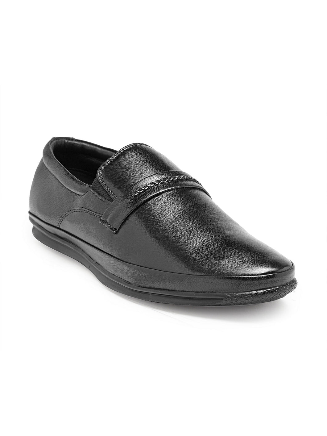 Teakwood Genuine Leather Black Slip-On Shoes