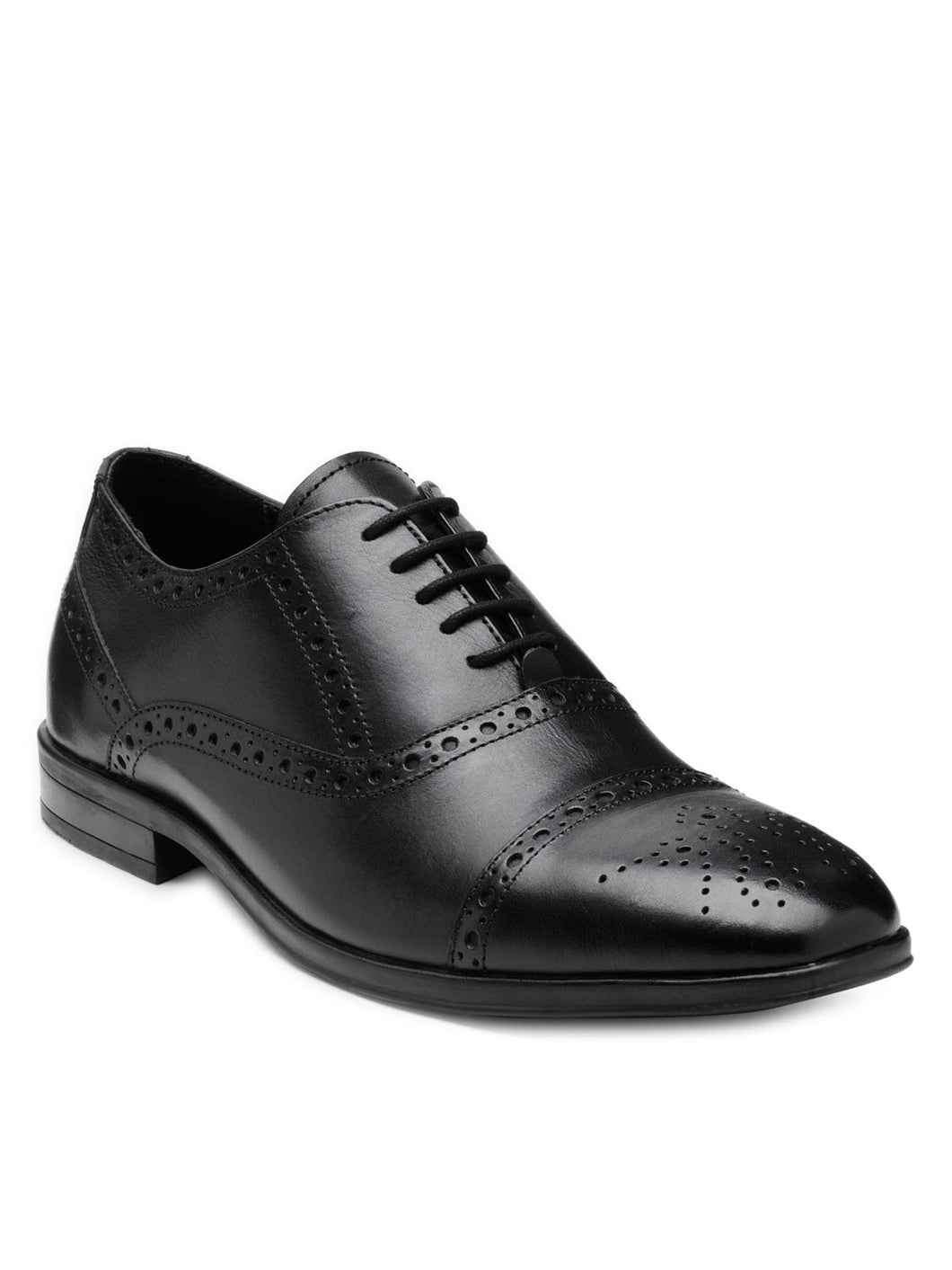 Teakwood Leather Men's Black Oxford/Brogue Shoes