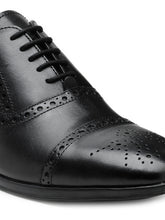 Load image into Gallery viewer, Teakwood Leather Men's Black Oxford/Brogue Shoes