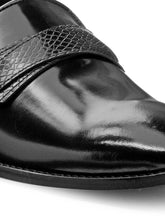 Load image into Gallery viewer, Teakwood Leather Men's Black Slip-ons Shoes