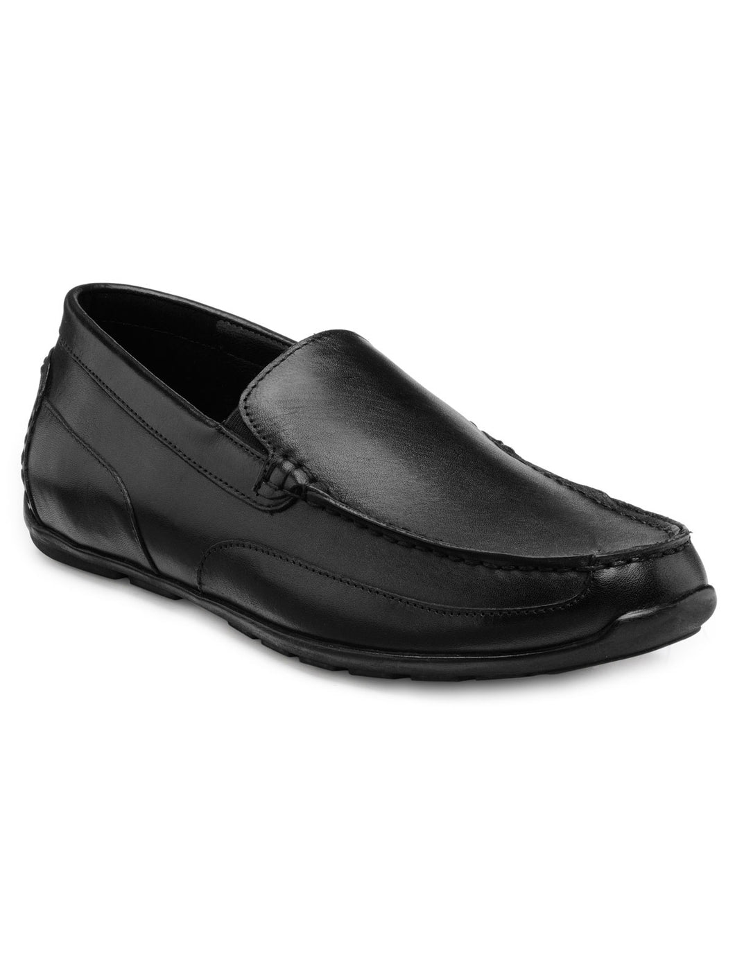 Teakwood Leather Men's Black Slip-ons Shoes