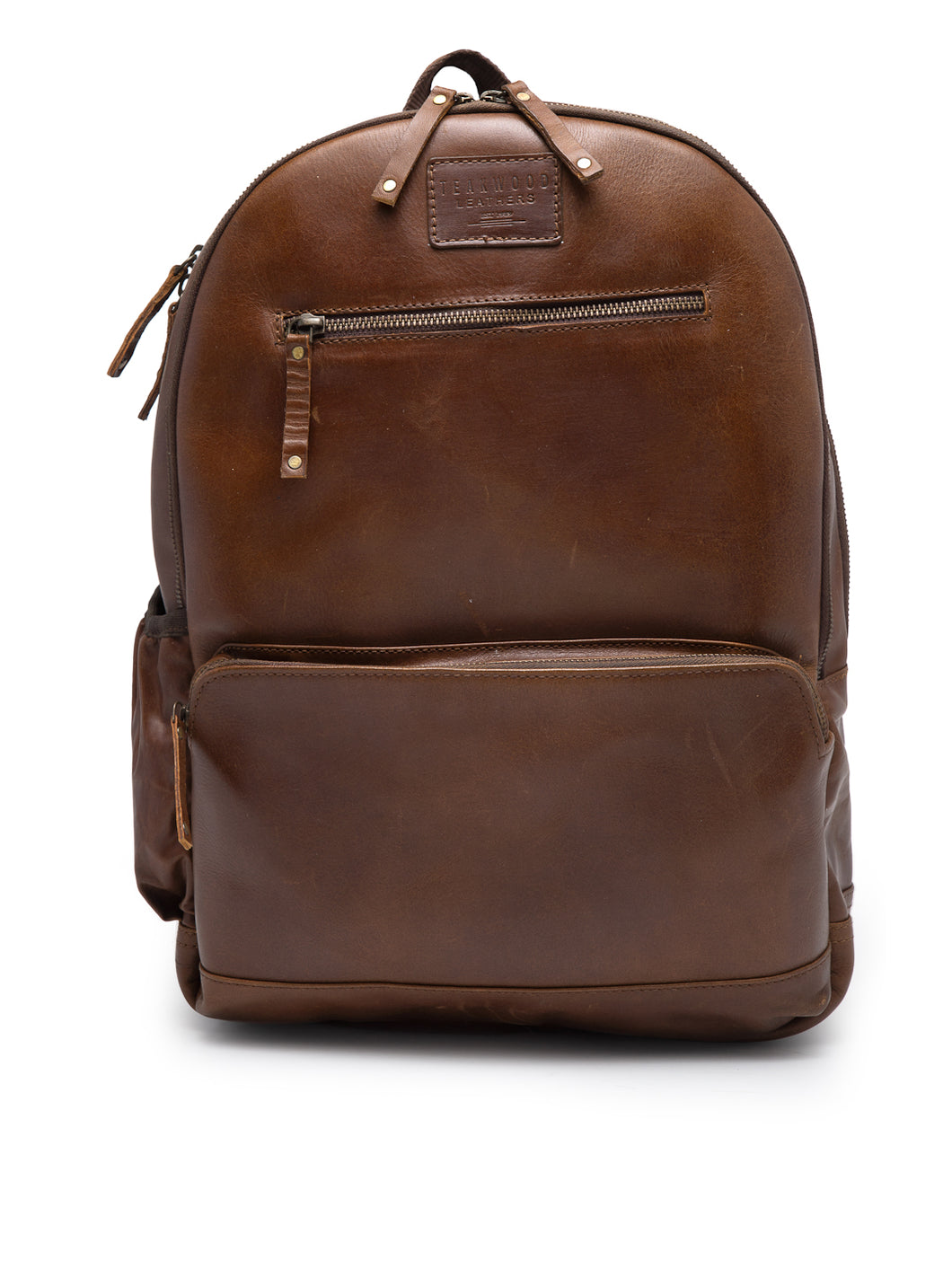 Teakwood Unisex Genuine Leather Tan Solid Backpack||Unisex Laptop Bag/Backpack