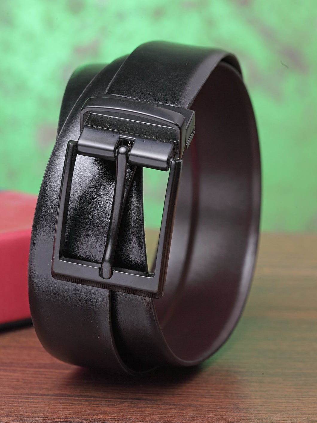 Teakwood Men Genuine Leather Black & Brown Solid Reversible Belt