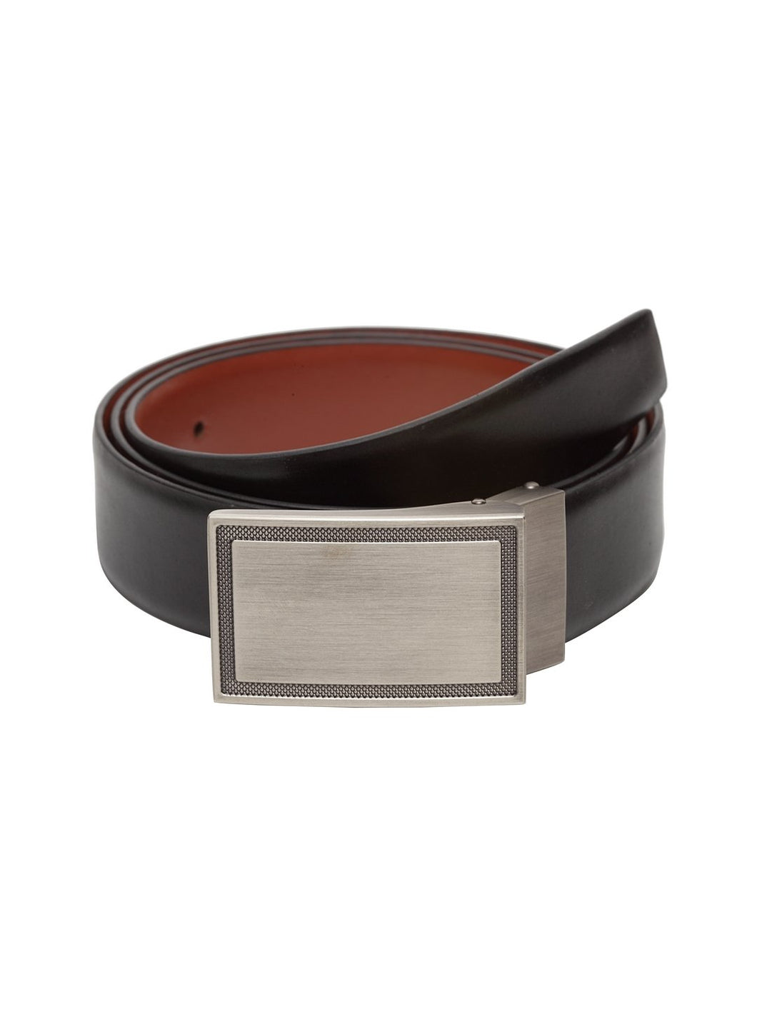 Teakwood Men Genuine Leather Black & Tan Solid Reversible Belt
