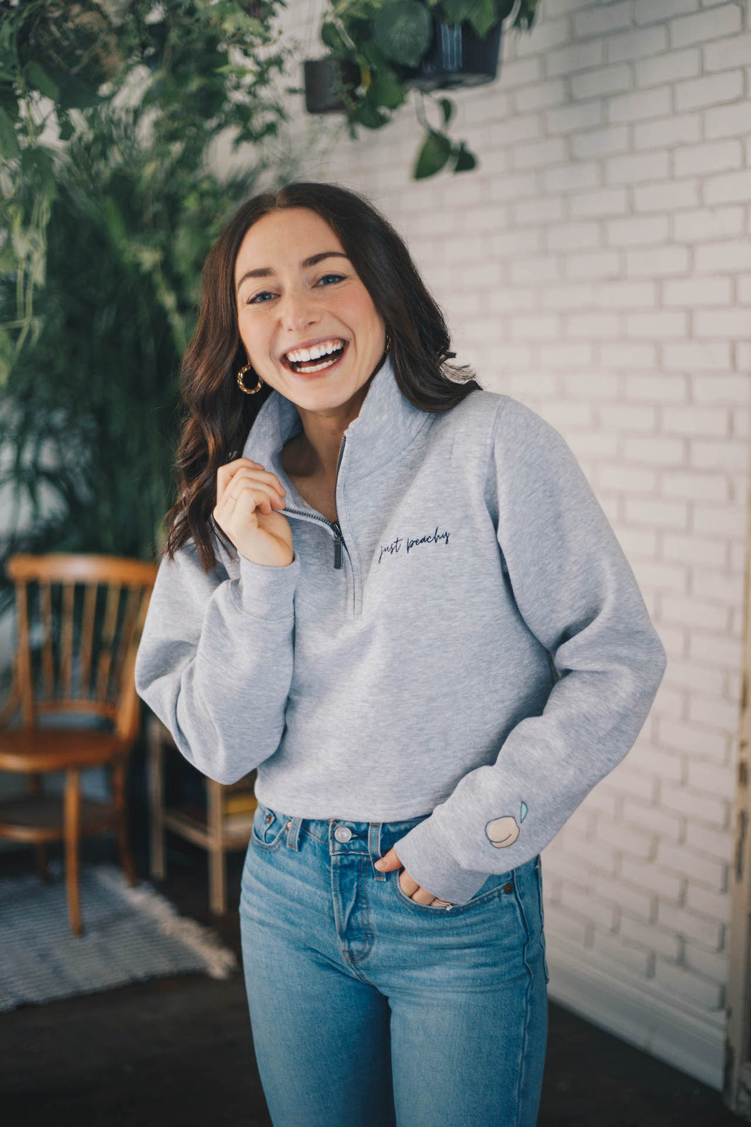 JUST PEACHY 1/4 Zip Cropped Sweater