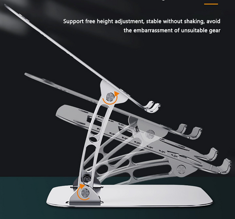 laptop stand with a diagram showing it's range of movements