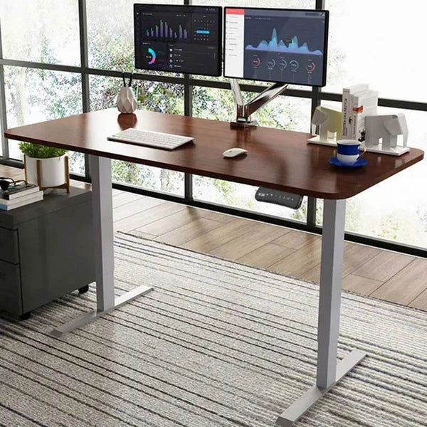 ergonomic height adjustable standing desk - brown with dual screens