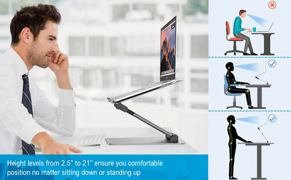 height adjustable laptop stand - standing desk creates a safe working position because it is raised to eye level