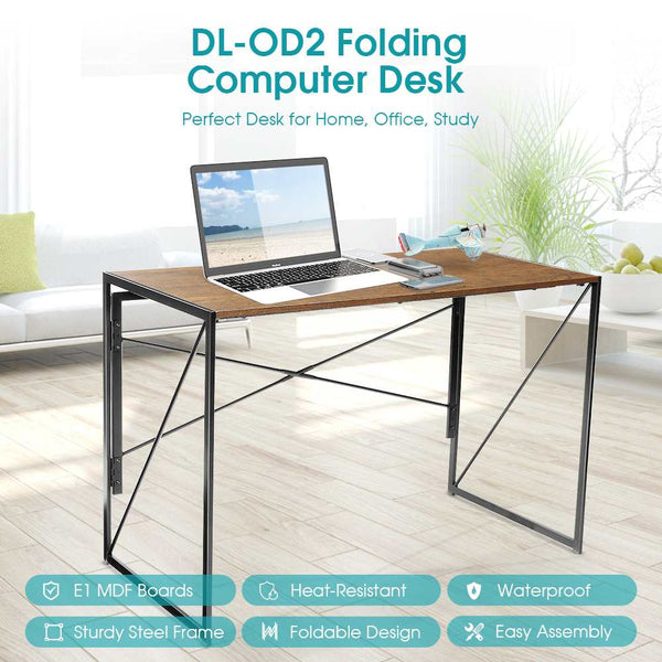 folding office table in a workspace with laptop