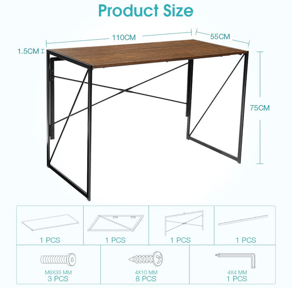 folding office table with dimensions 75cmx110cmx55cm
