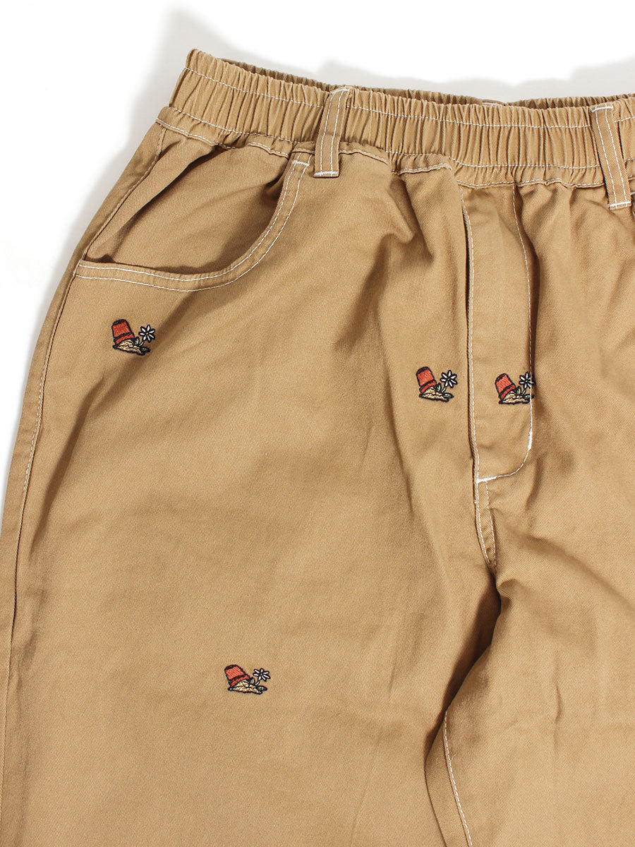 POTTED EMB PANTS -BEIGE-