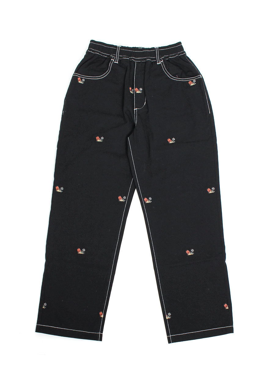 POTTED EMB PANTS -BLACK-