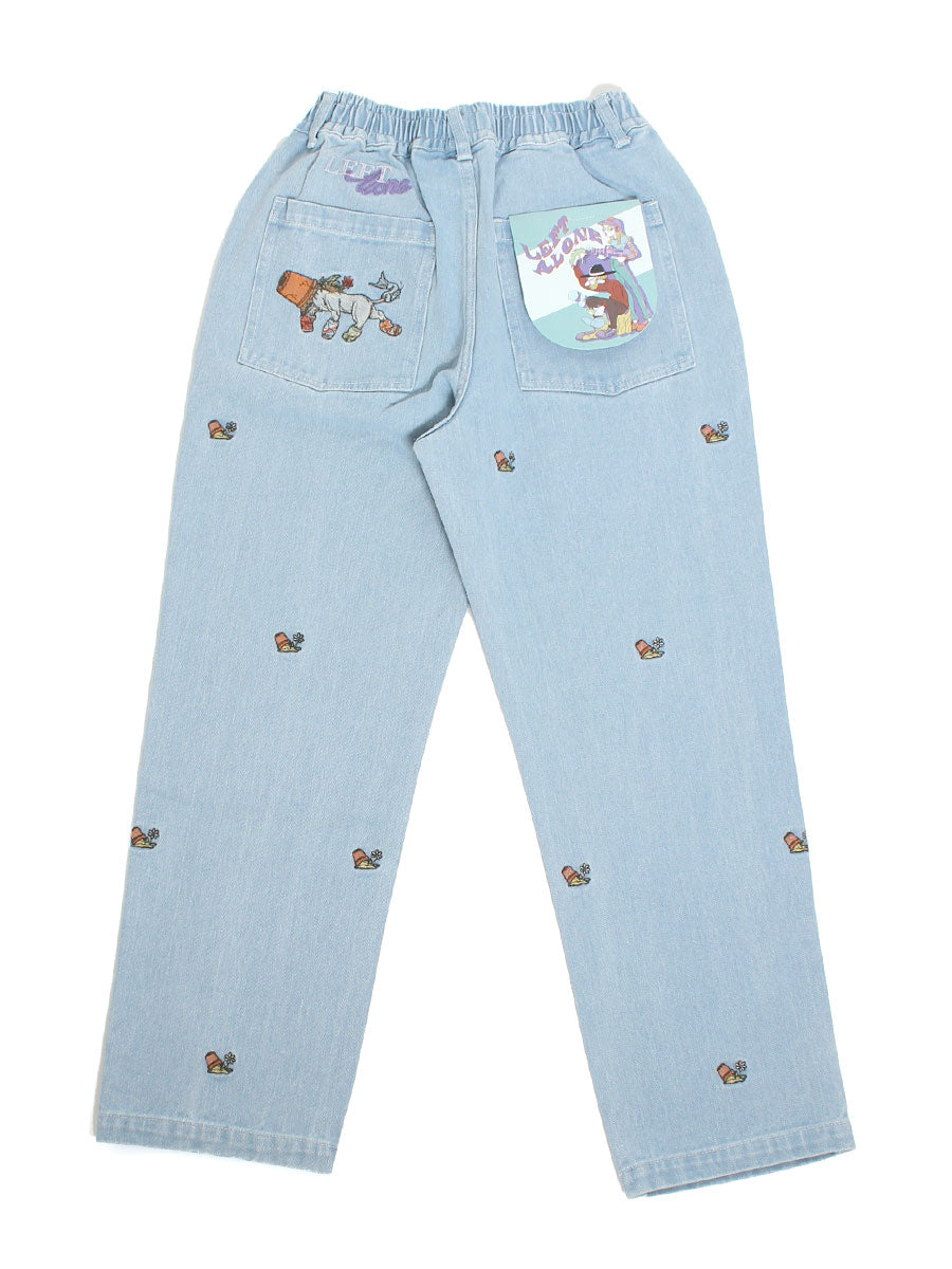 POTTED EMB PANTS -INDIGO-