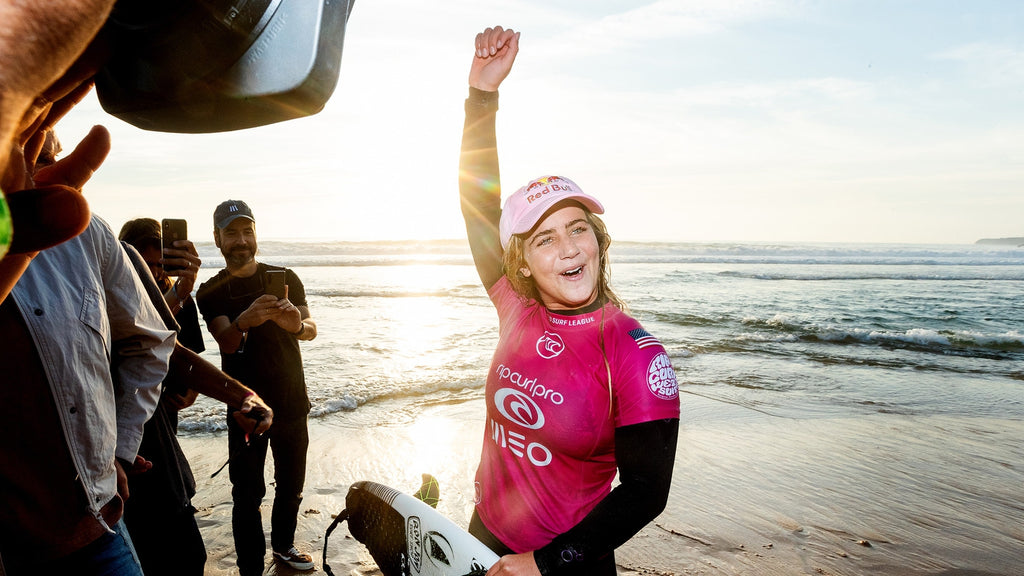 FCS team rider Caroline Marks. 2019 MEO Rip Curl Pro Portugal champion. © WSL / Poullenot