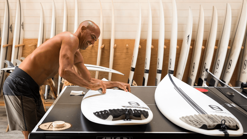 Kelly Slater waxing up the Helium & LFT Gamma before a session at the Surf Ranch