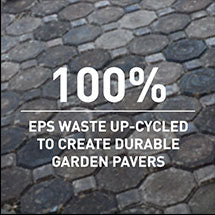 100% EPS waste up-cycled to create durable garden pavers
