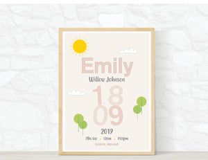 Personalised baby girl birth details print