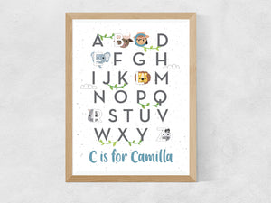 Personalised Jungle safari animal ABC nursery print with mini adventurer