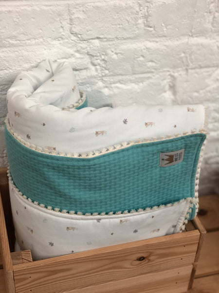 Reversible blanket- Rabbit & green