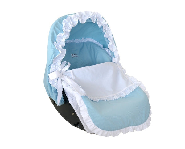 Blue car seat cover with top and hood