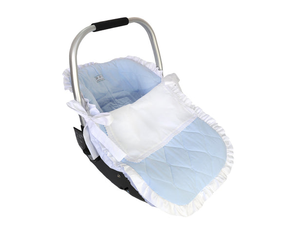 Blue car seat with top