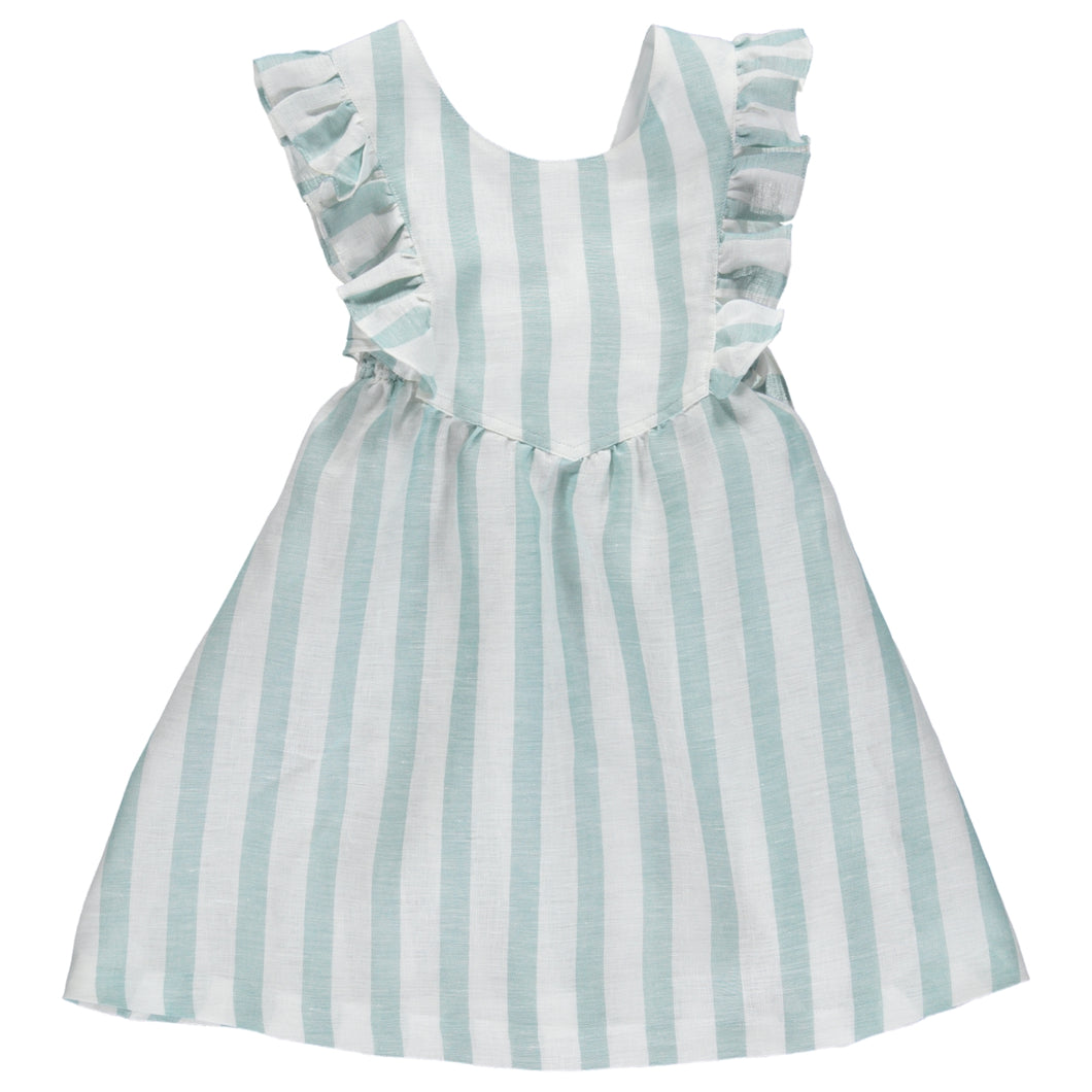Charlotte linen green stripes