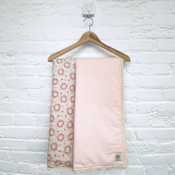 Reversible blanket - Coral flowers