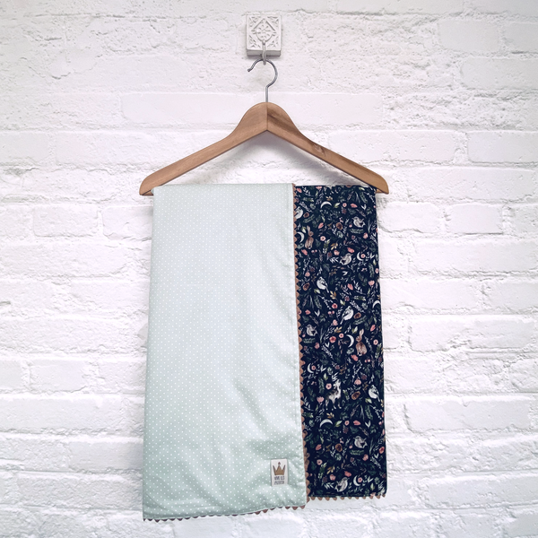 Reversible blanket - Dreamy print blue & light dot