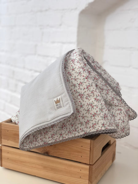 Reversible blanket - Grey check & pink flowers