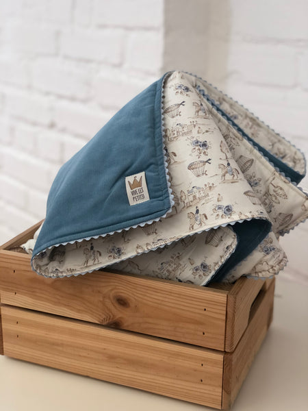 Reversible blanket - Horses & Blue