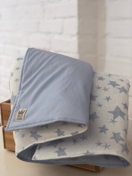 Reversible blanket - Blue stripes & stars
