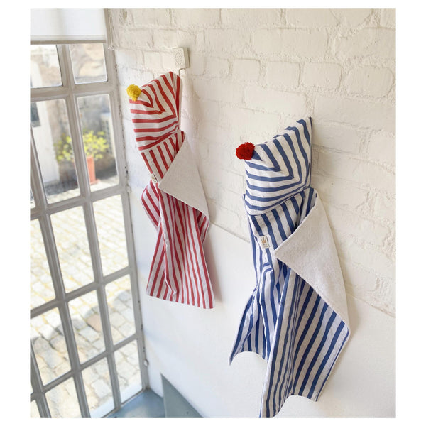Coral stripes beach towel