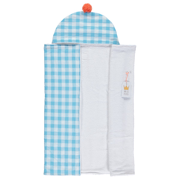 Turquoise check beach towel