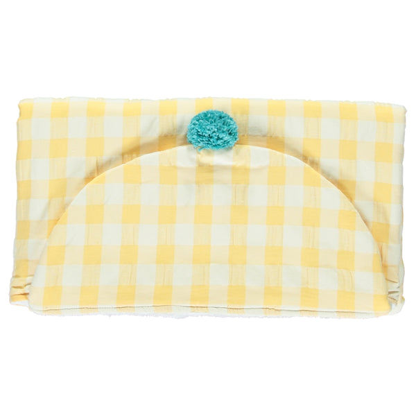 Yellow check beach towel
