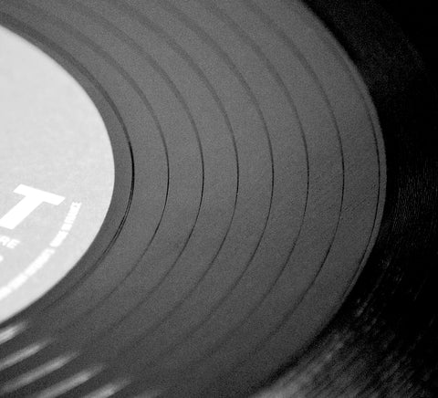 vinyl album grooves close up