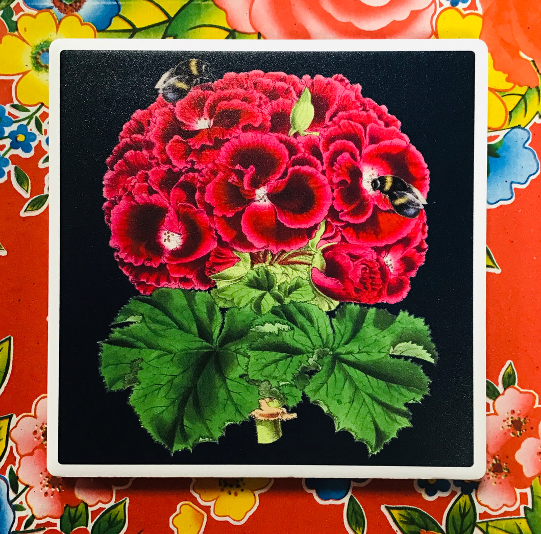 Coaster Blodau Coch Madame Treacle / Madame Treacle Red Floral Coaster
