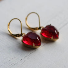 Load image into Gallery viewer, Clustlysau Rhuddem Siâp Calon Coch / Ruby Red Heart Shaped Earrings