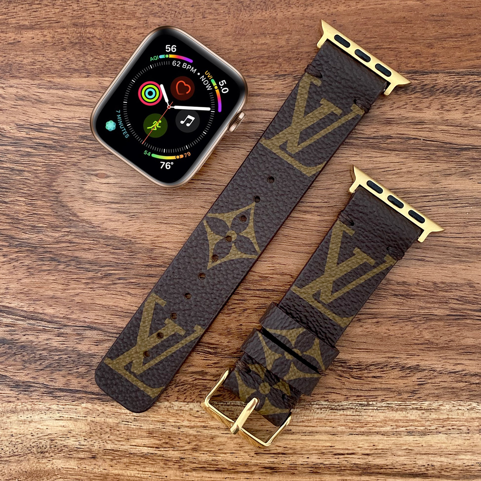 Handmade Upcycled Louis Vuitton Classic Logo Apple Watch Band
