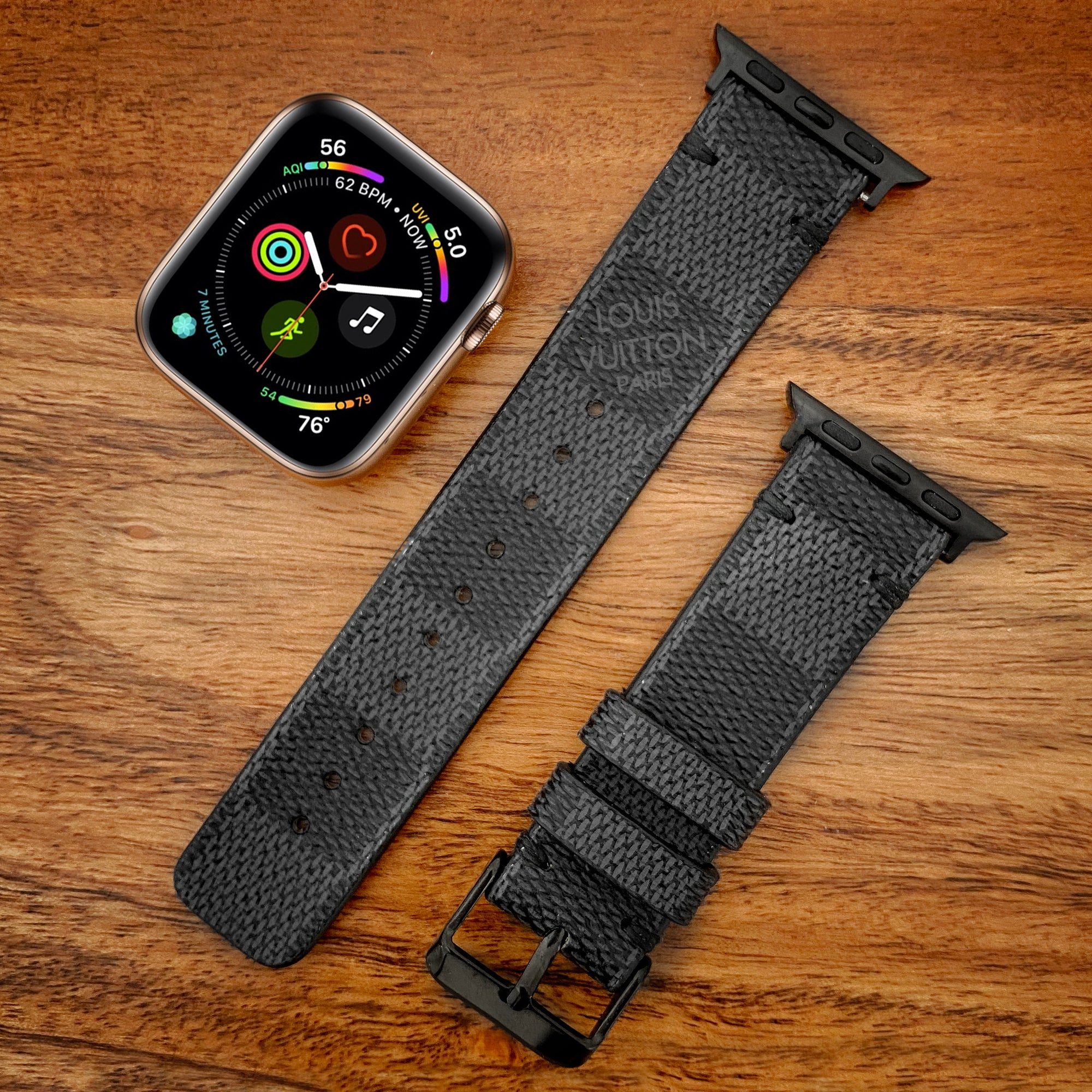 Handmade Upcycled Louis Vuitton Damier Graphite Apple Watch Band