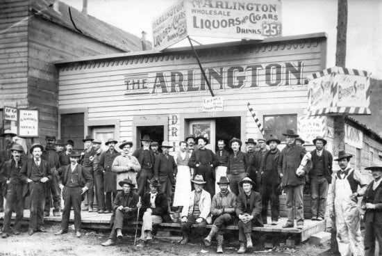 Arlington Wholesale Liquor and Barber Shop, Dawson City, c1898
