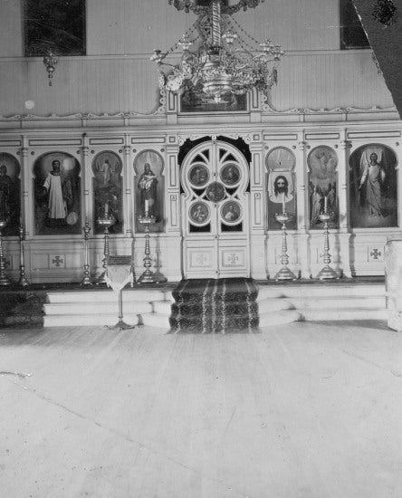 Altar of Russian Church at Ounalaska, Alaska, 1898.