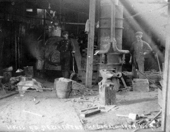 moulding department of the McDonald Iron Works and Foundry, 1901