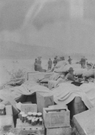 Supplies along the shore of the Yukon River, June 1898