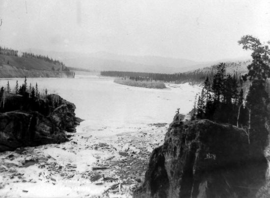 Ice Jam at Five Fingers. Looking Down The River, c1913.