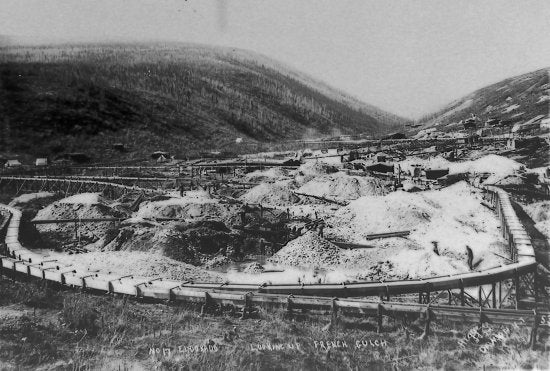 No. 17 Eldorado Looking Up French Gulch, c1900.