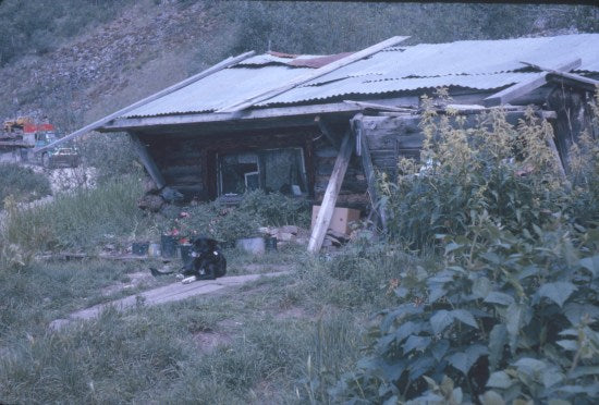 Harry Leamon's Cabin, Bonanza Creek, c1958.