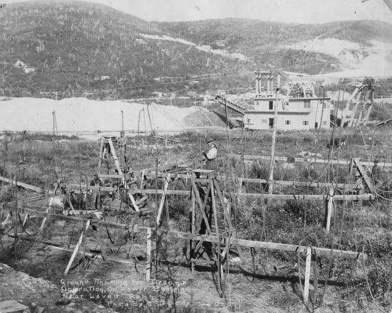 Ground Thawing for Dredge Operation on Lower Bonanza near Lovett Gulch, c1912.