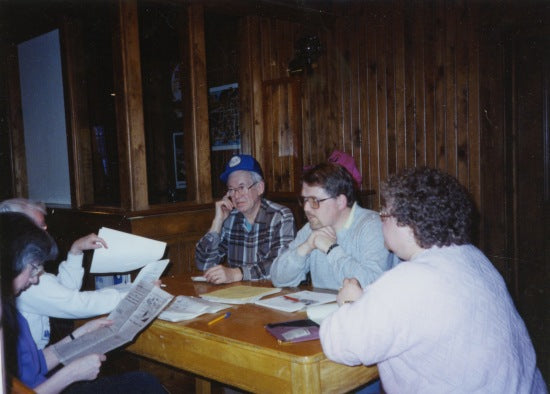 Meeting of the Klondike Sun Staff, April 1991.