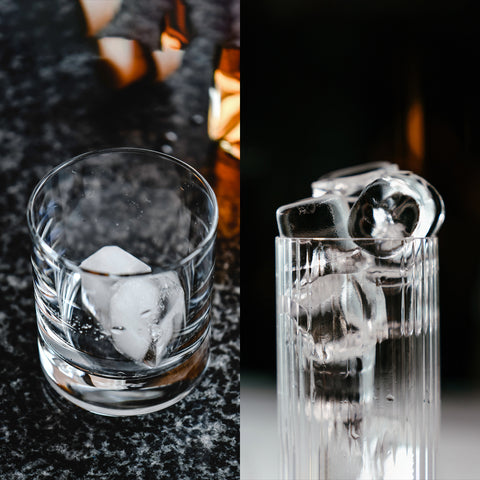 cloudy ice and clear ice cubes