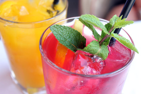 cocktails with ice in afternoon tea or party